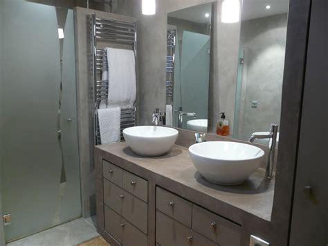 renover plan travail cuisine salle de bain béton ciré contemporain salle de bain