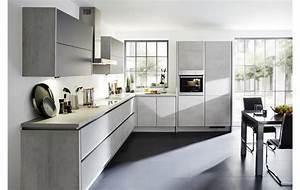 Küchen L Form Modern : grifflose designk che in l form winkelk che in beton schiefergrau nachbildung mit hochwertiger ~ Watch28wear.com Haus und Dekorationen