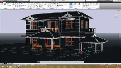 Autocad Double Storied 3d House  Preparing The Plan For