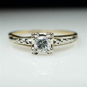 vintage art deco 14k white yellow gold diamond With vintage yellow gold wedding rings