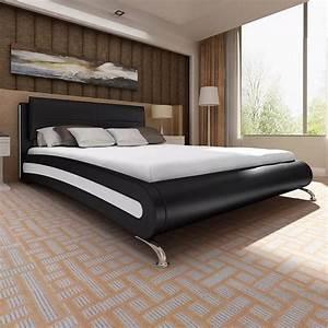 Lit En 180 : acheter lit en simili cuir noir blanc avec pied 180 x 200 cm matelas inclus pas cher ~ Teatrodelosmanantiales.com Idées de Décoration