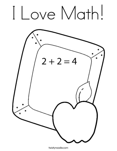 I Love Math Coloring Page  Twisty Noodle