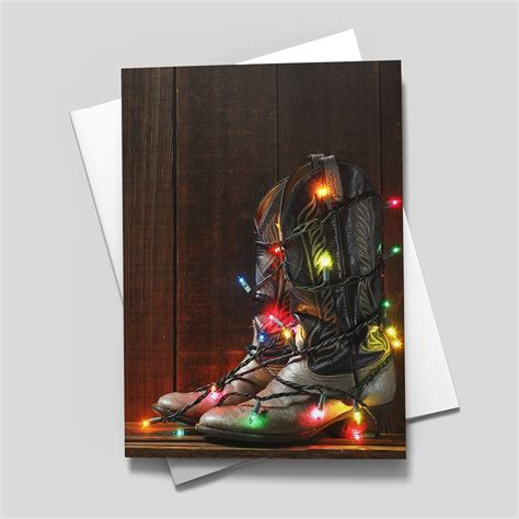 Cowboy boots with lights vickie wade western lpg greetings christmas card $2.75 new cowboy hat and boots under tree karen rae western lpg greetings christmas card Christmas Cowboy Boots - Western from CardsDirect