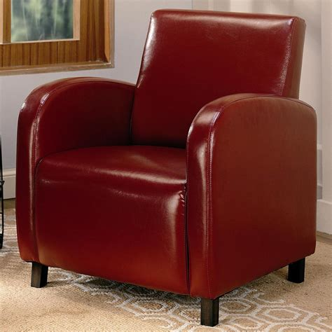 Red Leather Accent Chair  Stealasofa Furniture Outlet