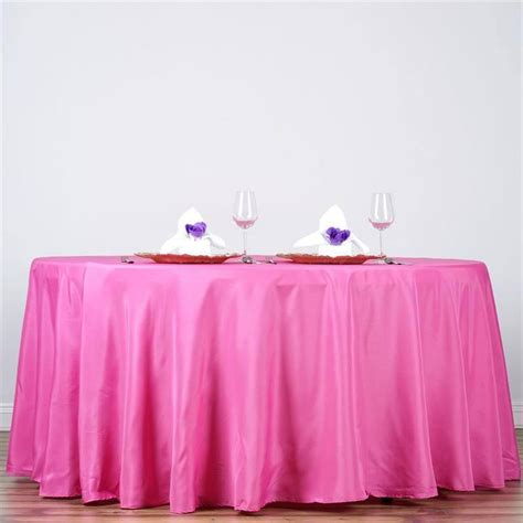 fushia 132 quot round polyester tablecloth efavormart