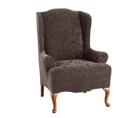 sure fit stretch jacquard damask wing chair cover page 1
