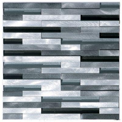 aluminum glass mosaic tile silver mix stripes aluminum