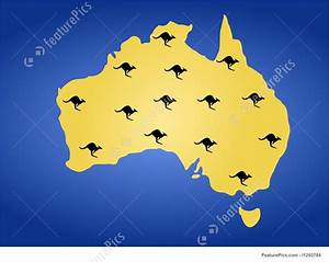 Map Of Australia And Kangaroos Stock Illustration I1293784 At Featurepics