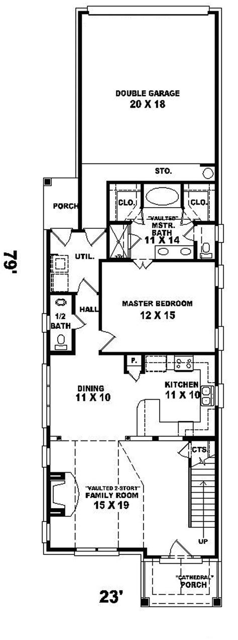 narrow house plans with garage enderby park narrow lot home plan 087d 0099 house plans and more