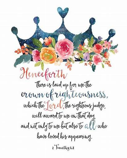 Bible Scripture Printable Quotes Crown Timothy Verse