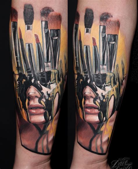 stairs clock portrait sleeve  tattoo design ideas