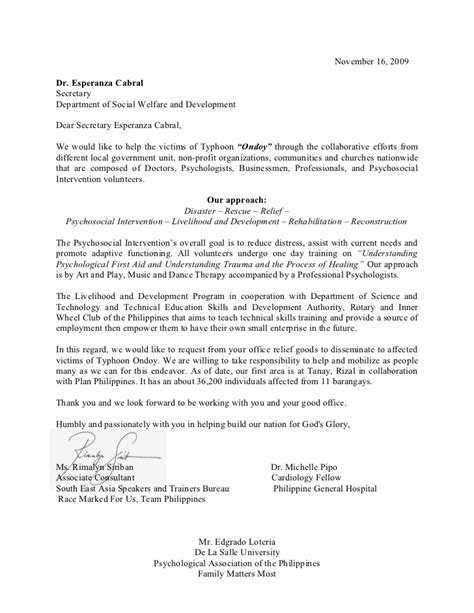 sle letter of request to dswd
