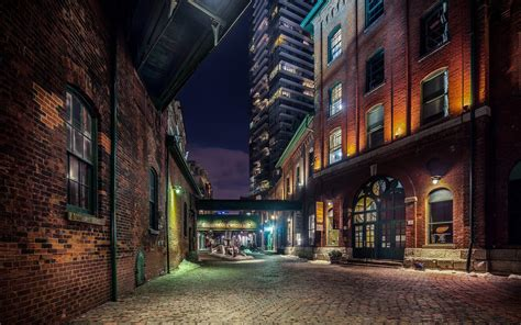 city cityscape bricks building door window night