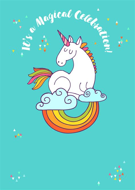 unicorn magic free printable birthday invitation template greetings island cases