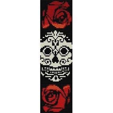 sugar skull in roses loom beading pattern for cuff bracelet sale half price