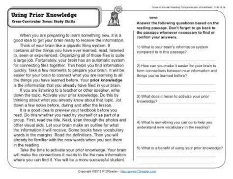 using prior knowledge 3rd grade reading comprehension