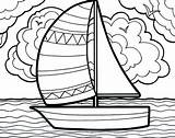 Coloring Sailboat Boat Sailing Summertime Pages Adventure Printable Getcolorings sketch template