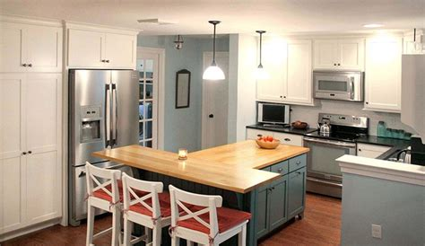 t shaped kitchen design this t shaped kitchen island with wood countertop 5967