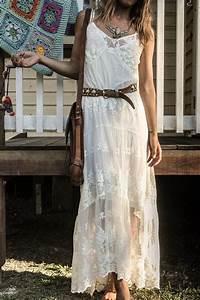robe longue blanche en dentelle vetements et accessoires With robe longue dentelle boheme