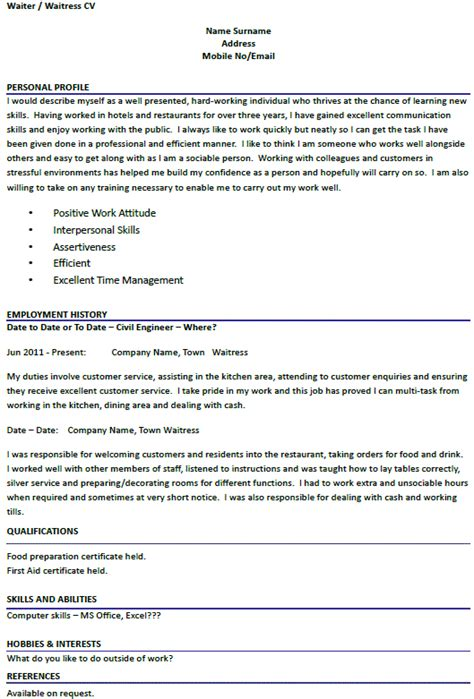 cv template uk waiter best recommendation letter writing