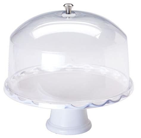 white cake stand  dome  piece set