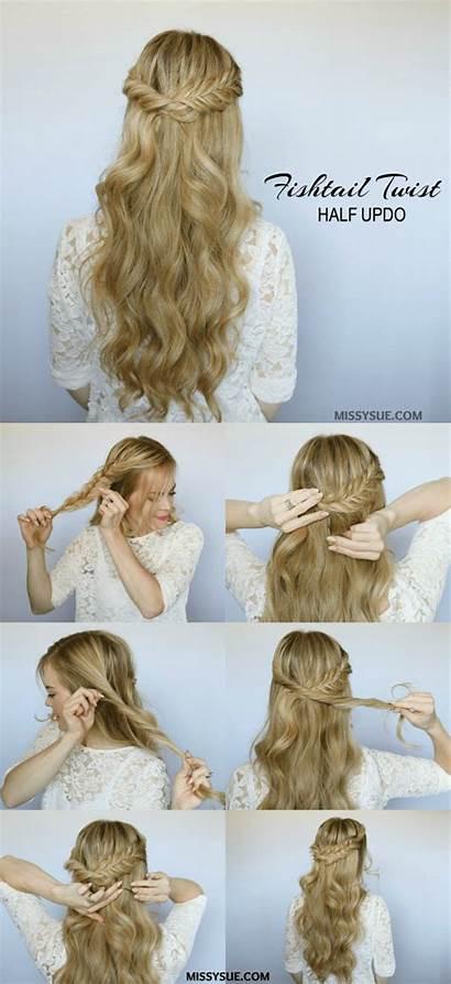 Half Twist Hairstyle Hairstyles Updo Tutorial Down