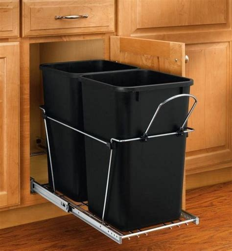 in cabinet trash can roll out new 27 qt under cabinet pull out trash can 2 bin waste