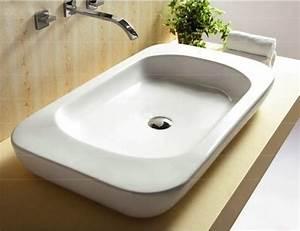 large modern flat ceramic vessel bathroom sink by With flat bathroom sinks