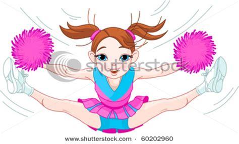 clip art picture  cute cheerleading girl jumping  air   splits  waving  pom poms