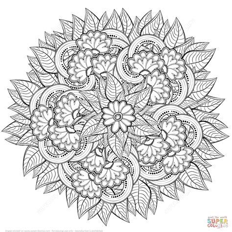 abstract flowers zentangle super coloring mandala