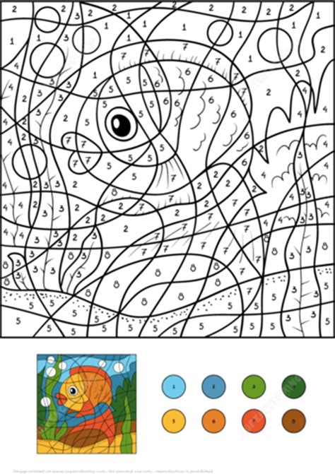 golden fish color  number  printable coloring pages