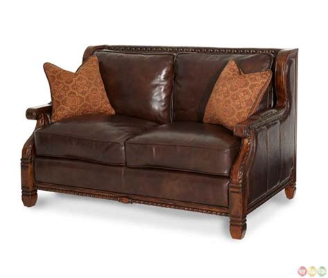 leather and fabric loveseat michael amini court wood trim leather and fabric