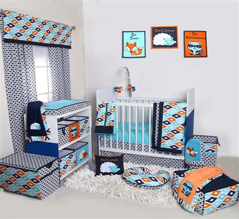 bacati liam aztec aqua orange navy 10 pc crib set with 2