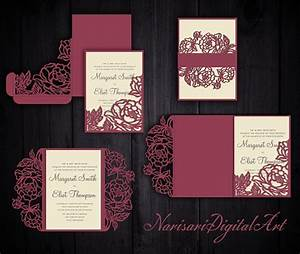 peonies set cricut wedding invitation template gate fold With pocket wedding invitations cricut