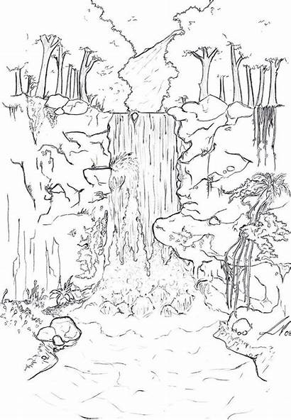 Waterfall Coloring Line Drawing Pages Drawings Background