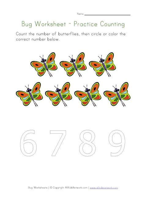 bugs worksheet counting to seven