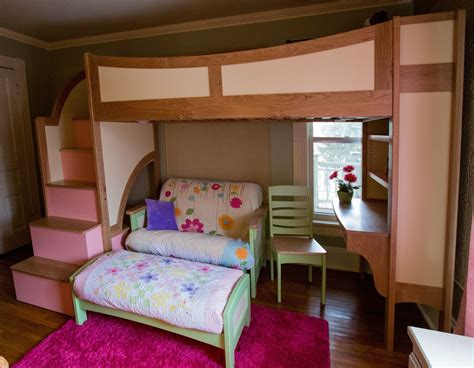 bunk bed with futon and desk handmade 39 s twin loft bunk bed with stairs futon