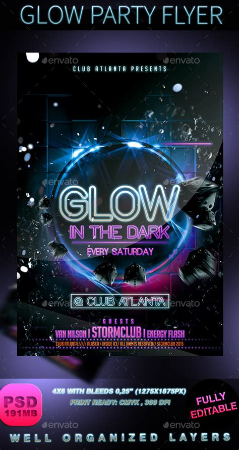 glow party flyer  stormclub graphicriver