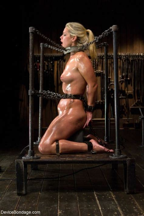 Shackled All Oiled Blonde Whore