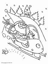 Coloring Snowmobile Santa Printable Sheet Claus Template Holiday sketch template