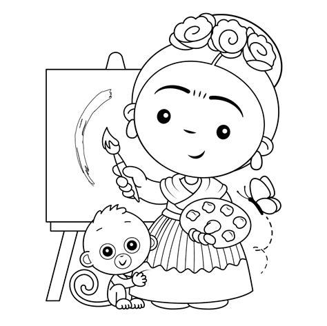 Dibujos Para Colorear Frida Kahlo Impresion gratuita