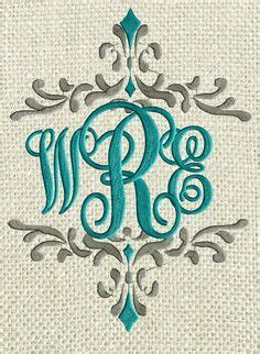 scripty monogram font embroidery file  letters  sizes   embroidery design