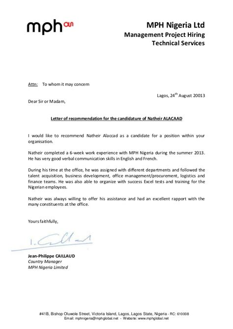 Recommendation Letter - Natheir Alaccad