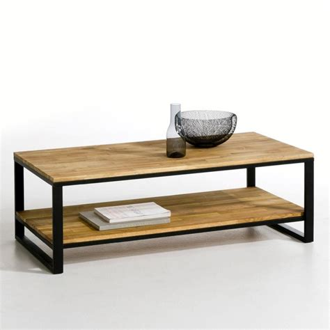 chambre bébé bois naturel table basse chêne et acier hiba la redoute interieurs