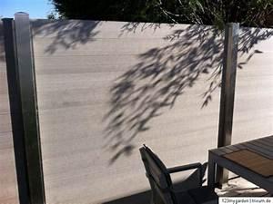 wpc sichtschutz zaun windschutz element holz kunststoff With französischer balkon mit gartenzaun 1 80 hoch