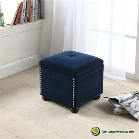 navy blue storage ottoman southern enterprises nathan brown accent foot stool