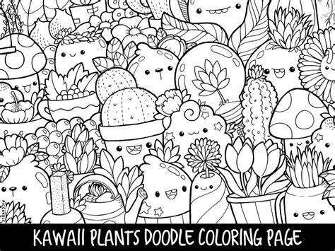 plants doodle coloring page printable cutekawaii coloring etsy
