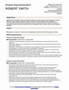 Free Resume Builder Project Superintendent Resume Samples Qwikresume