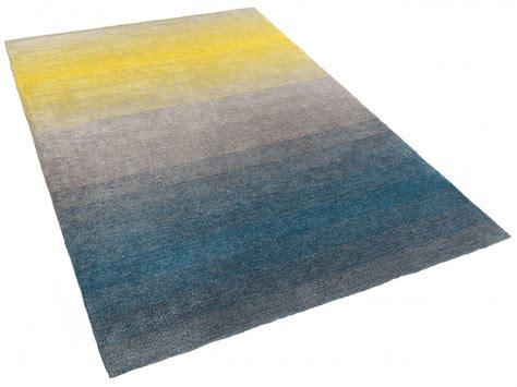 tapis rectangulaire shaggy 160x230 cm gris bleu jaune