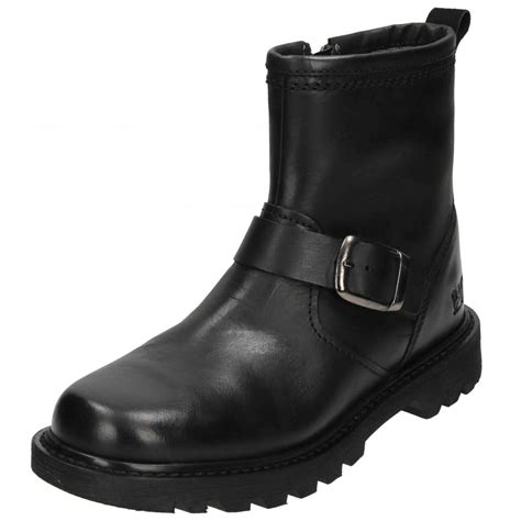 real biker boots caterpillar utility biker ankle boots real leather zip up